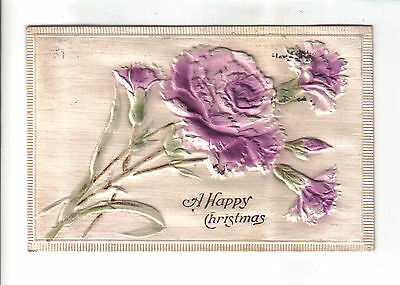Vintage Christmas Postcard.Embossed Flowers.Posted c1913 with Norwich postmark