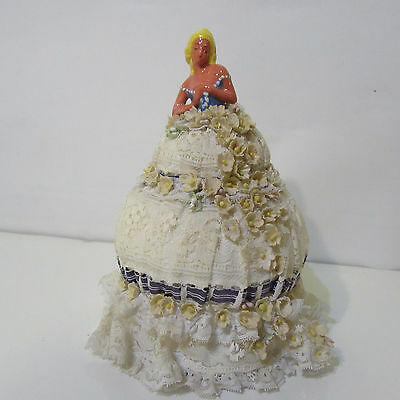 """Antique Pin Cushion Half Doll Figurine with Pin Cushion Applied Flowers Dress 8"""""""
