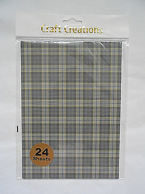 Pack of 24 Sheets GREY TARTAN Check 120gsm Patterned A5+ Craft Paper