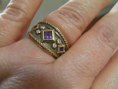 9ct Gold Amethyst diamond wide band ring size M