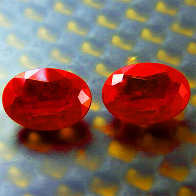 8.30 Ct Rare Awesome! Pigeon Blood Red Ruby  Oval Pair Gem 8X10