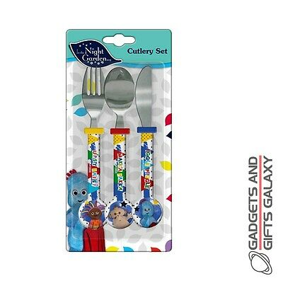 IN THE NIGHT GARDEN 3 PIECE CUTLERY SET KNIFE FORK SPOON gift home childs kids