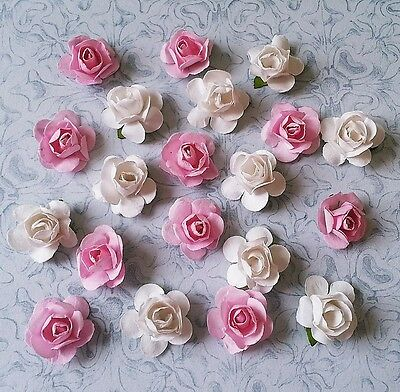 20x paper roses flowers embellishment for cardmaking scrapbooking pink and white