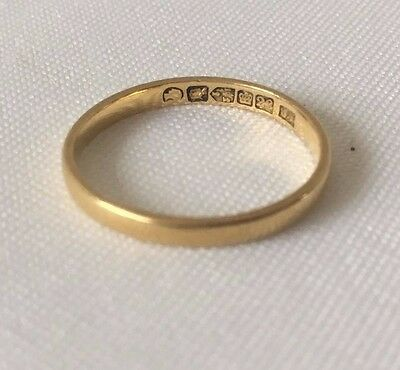Superb CHESTER Hallmark Victorian 22 Carat Gold Wedding Ring / Band 1867 SIZE M