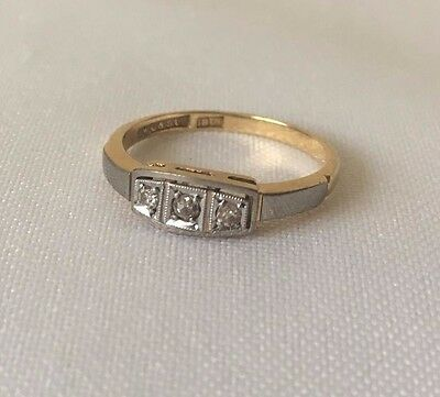 Super 18 Carat Gold + Platinum Art Deco Diamond Triology Ring c. 1915 SIZE L 1/2