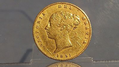 1851 Victorian half sovereign young head shield back 22ct gold coin