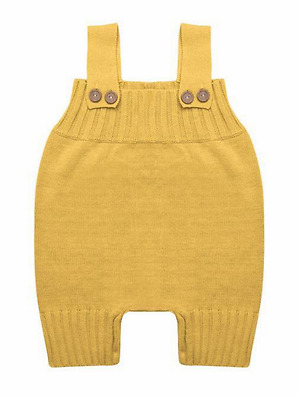 Baby Knitted Overall Romper in Yellow Mustard Colour