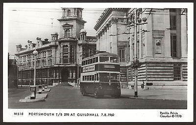 Hampshire. Portsmouth. Trolley Bus 298 at the Guildhall, 1960. Pamlin Print Card