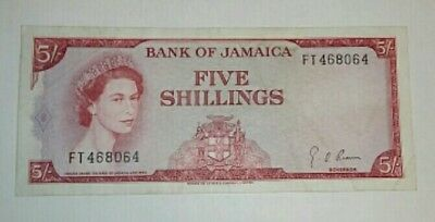 Bank of Jamaica 5/- Five Shillings Banknote P51Ad 1964 VF Rare
