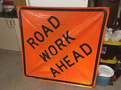 """3 Signs  & 3 Ribs for Construction safety Road work caution signs  65"""" X 65"""""""