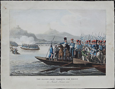 Kolorierter STAHLSTICH: The Allied Army crossing the Rhine to invade France 1813