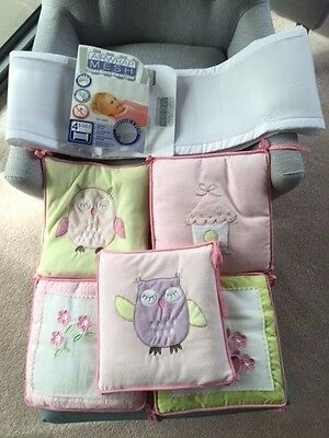 Airwrap Mesh 4 sides & 5 pc Bubba Blue Baby Owl Pink Cot Bumper