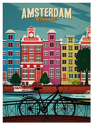 amsterdam holland vintage A1 SIZE PRINT FOR YOUR FRAME poster 90cm