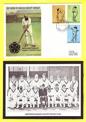 Northamptonshire County Cricket Club 1973 GB FDC Cover & team picture print
