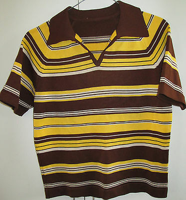Vintage Boys Size 12 Striped Polo Shirt Top Short Sleeve 1970's