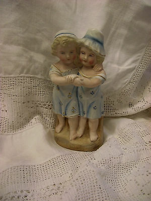 Hollow Vintage Bisque Figurine Two Girls  - Hand painted/ numbered with mark