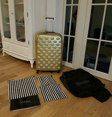LULU GUINNESS LARGE Gold Spinner Film Coated Suitcase New, Tags, Travel Bags