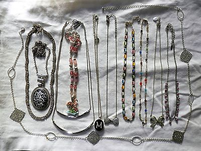 11 Necklace Lot for Wear or Resell Silver Tone Chain Pendant Rhinestone Unique