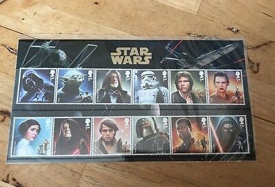 STAR WARS STAMPS - 12 x 1st class stamps - BRAND NEW in presentation pack