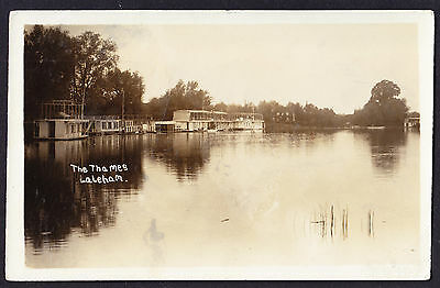 The Thames Laleham Staines Surrey Boats River RPPC Real Photo Postcard Used 1920