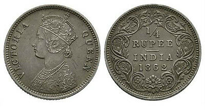 1862 - India [British Rule] Victoria - 1/4 Rupee - KM470 - 0.917 SILVER - EF