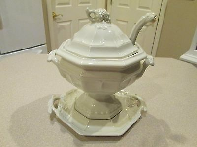 Vintage large Red-Cliff Nepone Tureen with under plate and ladle