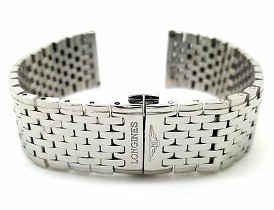 New Mens 20Mm Stainless Steel Strap Bracelet Straight End For Longines Watch