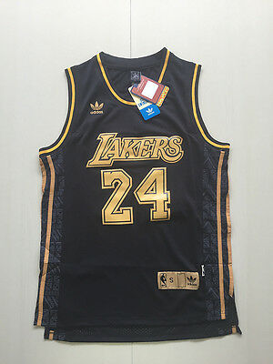 New Los Angeles Lakers NO.24 Kobe Bryant Black Basketball Jersey Size:S-XXL