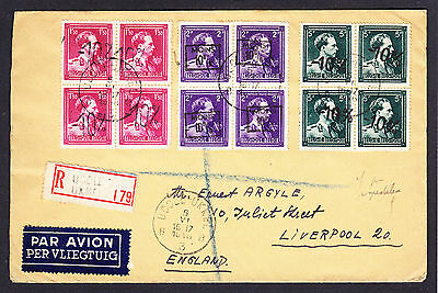 1946 cover Uccle Ukkel to Liverpool England displaying Belgian Belgium stamps