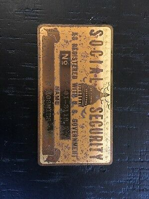 vintage real metal social security card 1930s Wow Fast Shipping