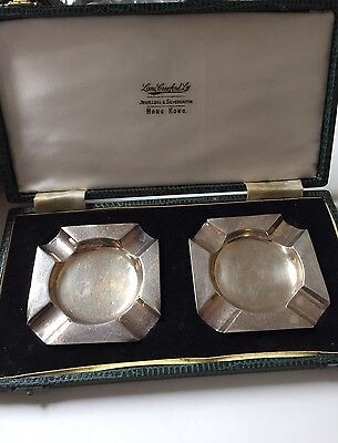 Pair Of Solid Sterling Silver Ashtrays In Box Lane Crawford Hong Kong A Bros Ltd