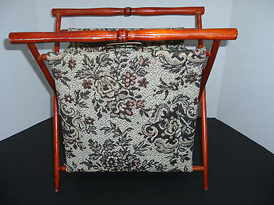 Knitting Sewing Tote Basket Storage Brocade Holder Collectible Wood Legs L@@k!!!