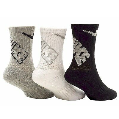 Nike Little Boy's 3-PK Vintage Heather Asst Crew Socks Youth 13C-3Y