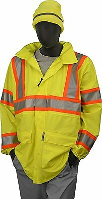 Majestic Glove 75-7301 Polyester High Visibility DOT Rain Jacket with Concealed