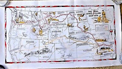 Cartoon Map The Trail Of Lewis And Clark 1804 - 1806 Montana Idaho Oregon
