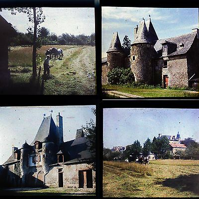 AUTOCHROMES FILMCOLOR LUMIERE 1935 12 PLAQUE PHOTOS STEREO 6x13 CHATEAU DE VITRE
