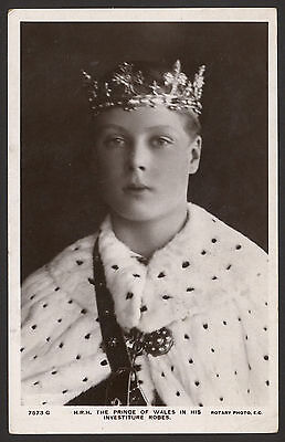H.R.H. The Prince of Wales in his Investiture Robes & Crown. 1912 Rotary RPPC