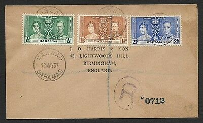 (111cents) Bahamas 1937 Coronation Registered Cover to England