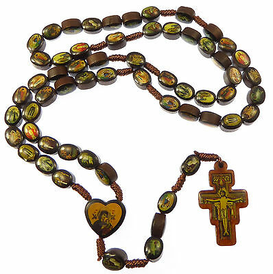 Brown wooden Saints rosary beads St. Francis of Assisi crucifix wood Jesus Mary