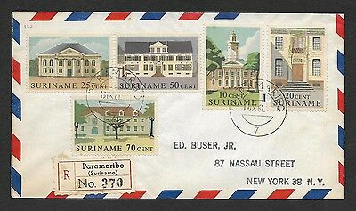 (111cents) Suriname 1961 Registered Cover to USA