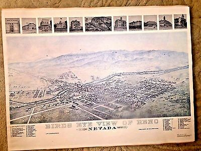 VINTAGE MAP BIRDS EYE VIEW OF RENO NEVADA IN 1890 REPRODUCTION FROM THE 1960's