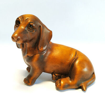 "Y4753 - 2"" Nice Quality Hand Carved Boxwood Netsuke - Lovely Dog"