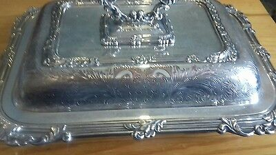 Vintage Good Quality Decorated Silver Plated Entree Dish..rngraved