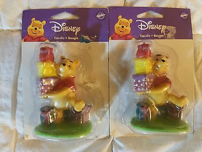 lot of 2 Wilton Disney Winnie The Pooh Bougie Candle Decoration