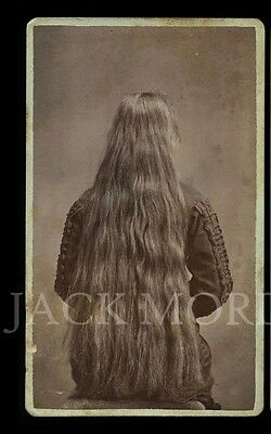 Creepy Vintage Photo CDV Long Hair Girl with Back Turned to Camera - Mourning ?