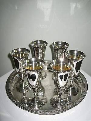 Set Of Six Silver Plated Goblets and Engraved Gallery Tray