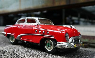 Vintage! 1950s MARUSAN TOYS Red BUICK Sedan Tin Toy with Outer Box made in Japan
