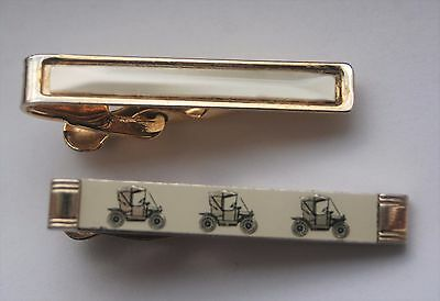 2 x vintage gold tone tie clips including classic car Stratton Nippy Clip