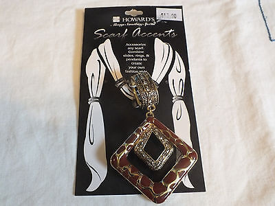 Collectible Scarf Clip Slide Gold Tone Rhinestones Original Card HOWARDS 3.5""