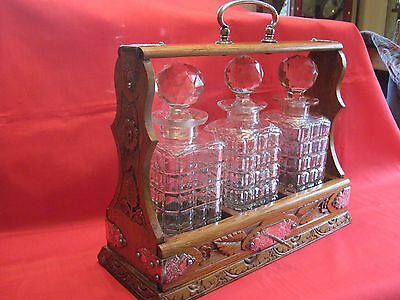 Super Quality Arts & Crafts Hand Carved,silver Plate & Oak,triple Tantalus +Key